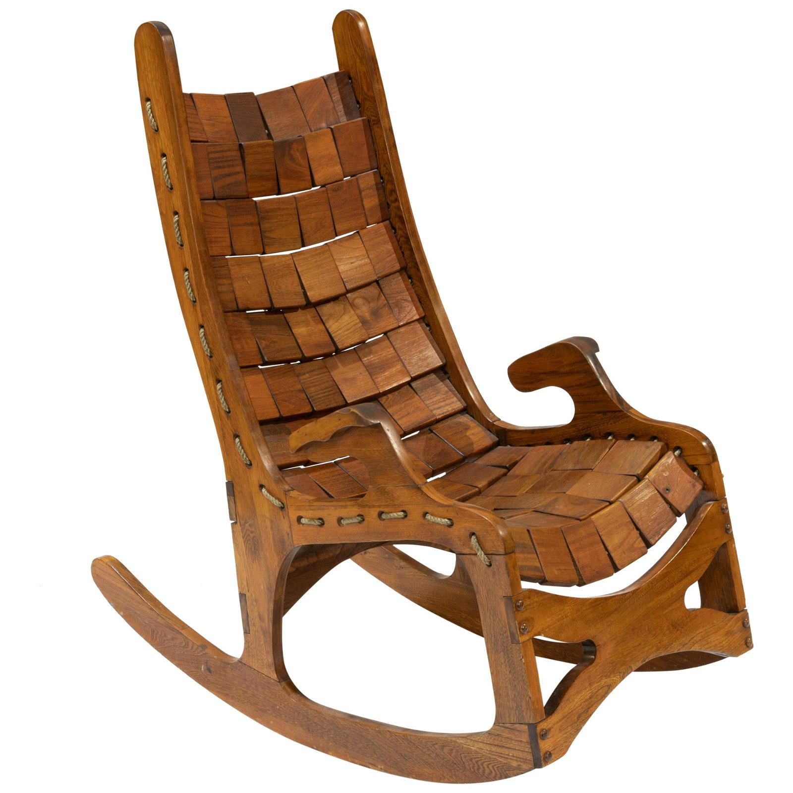 Mid Century California Block & Rope Rocking Chair