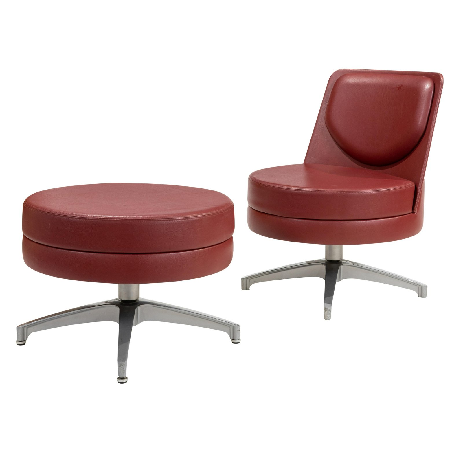 Mid Century Style Vinyl Chair and Ottoman