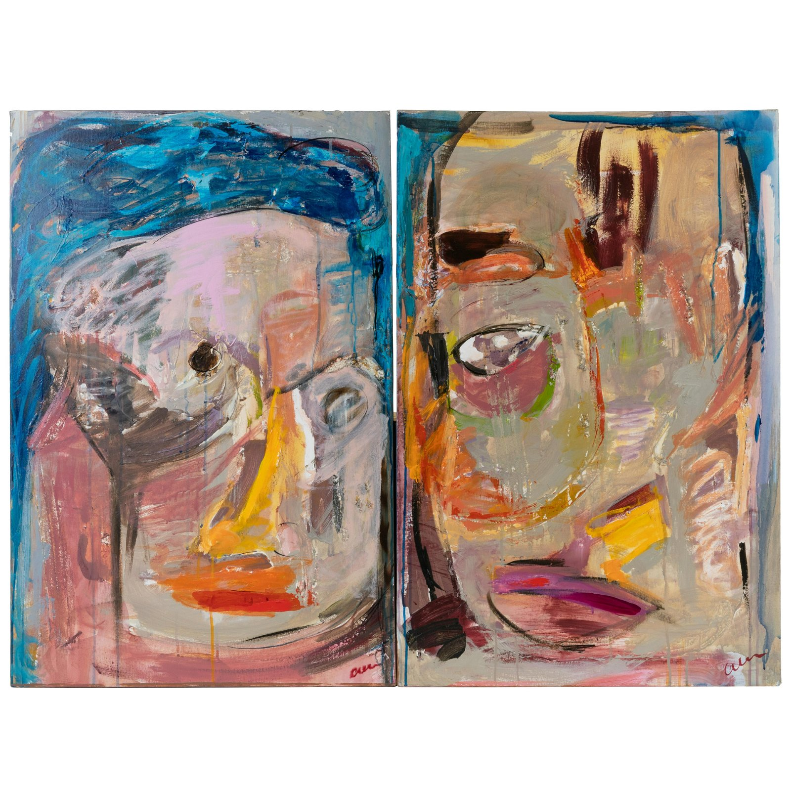 Abstract Oils On Canvas Portraits