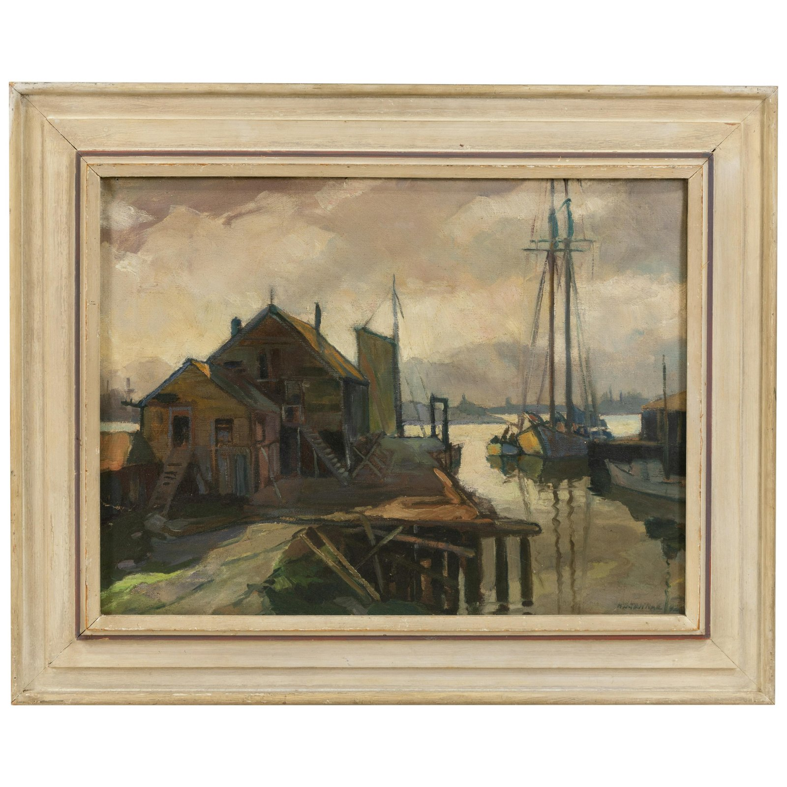 Harold D. Tannar - Harbor Scene - Oil on Canvas