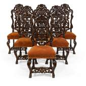 Carved Oak Dining Chairs  6