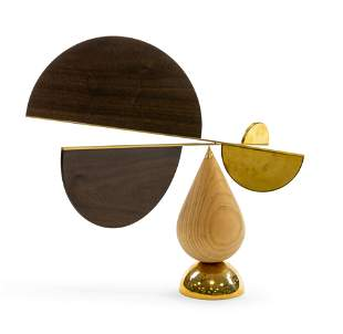 Brass and Walnut Kinetic Sculpture