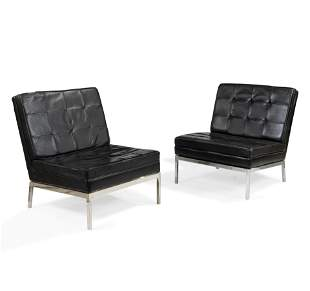 Knoll Style Leather Chairs - Pair