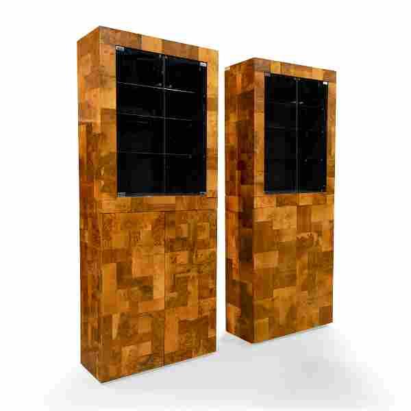 Paul Evans - Patchwork Burl Two Part Cabinets