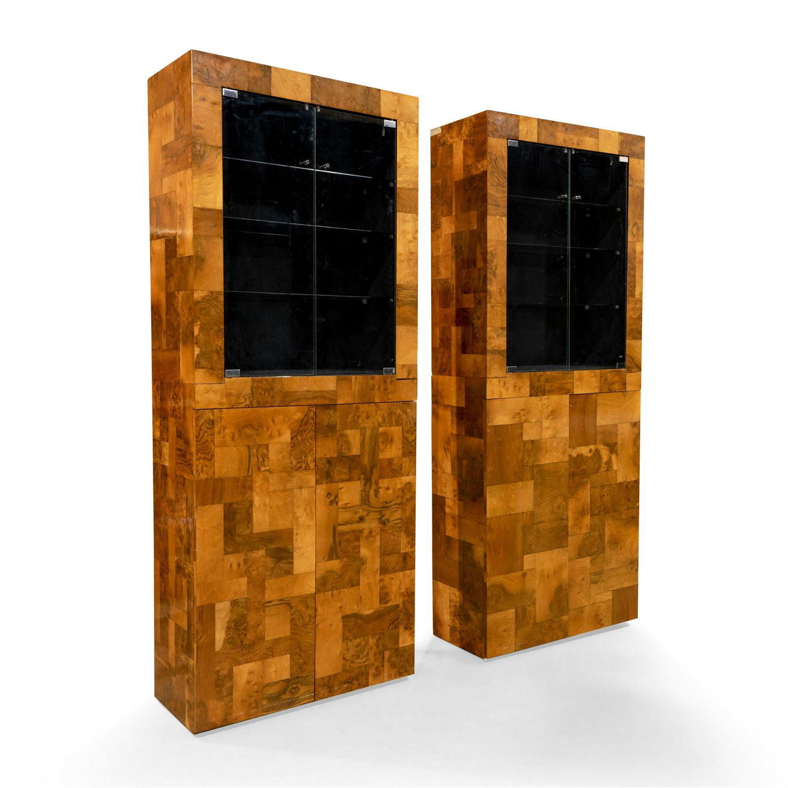 Paul Evans - Patchwork Burl Two Part Cabinets