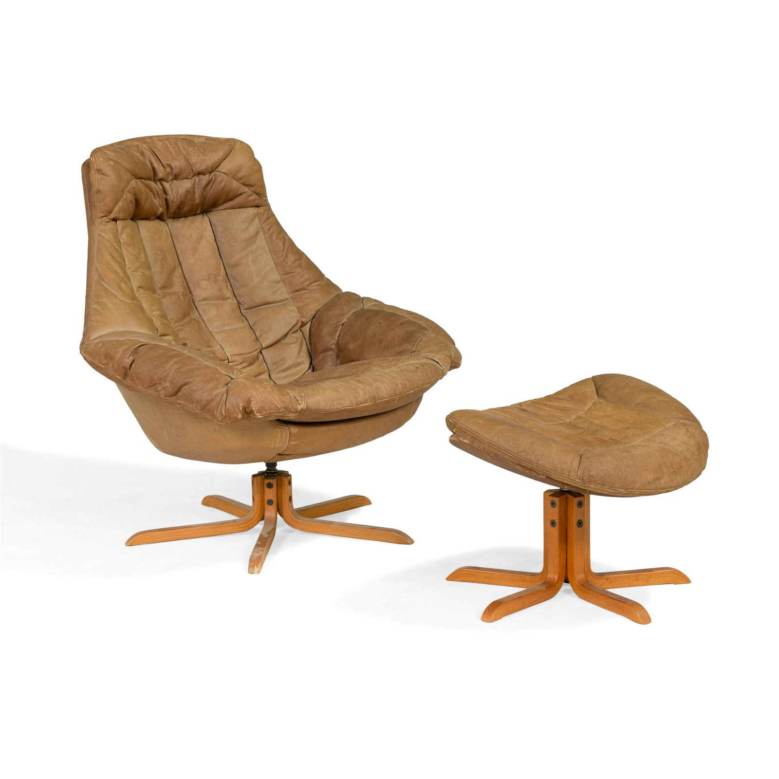 Swedish Leather Chair and Ottoman