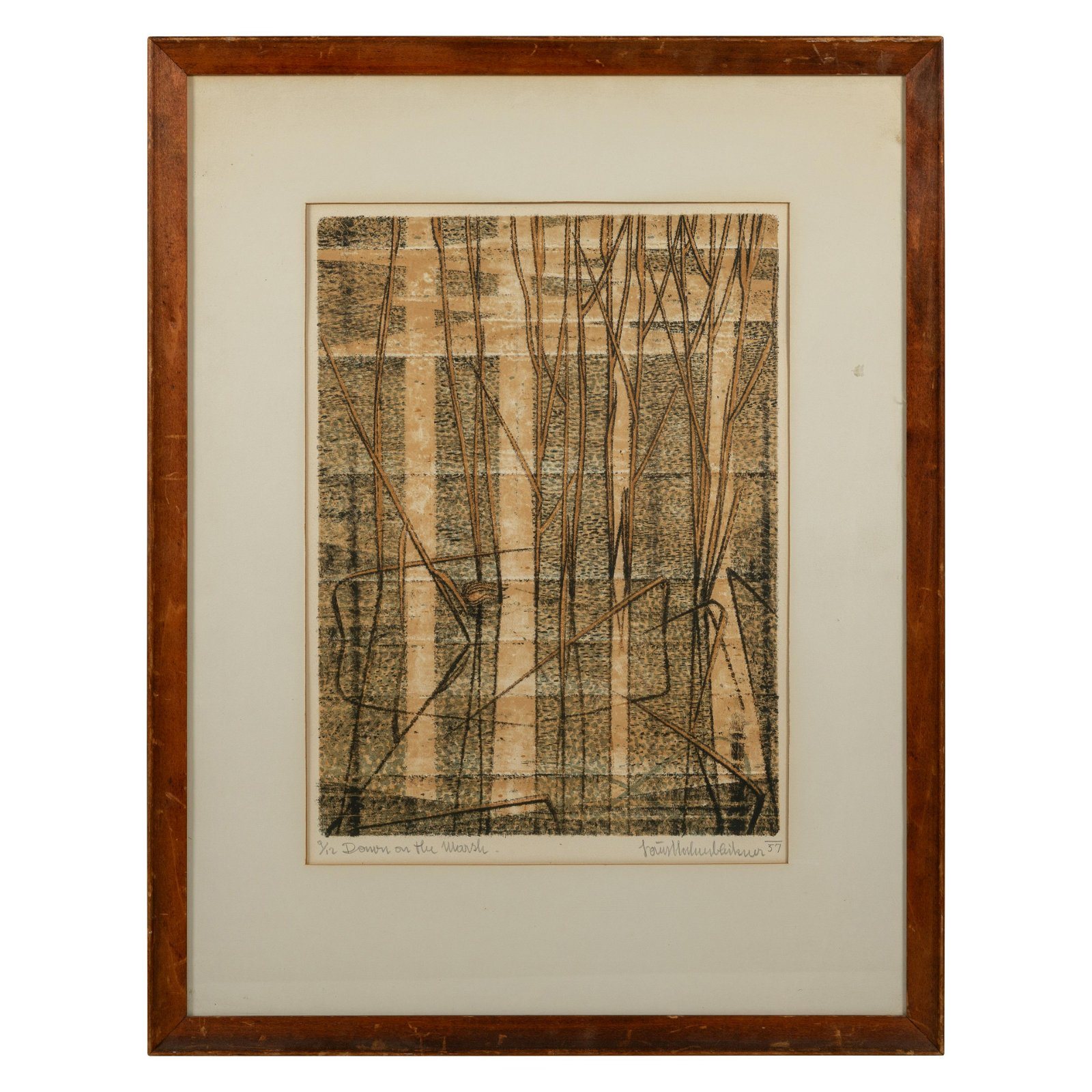 "Abstract Lithograph - ""Down on the Marsh"""