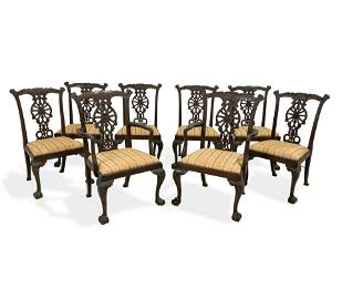 Irish Chippendale Style Dining Chairs - 8