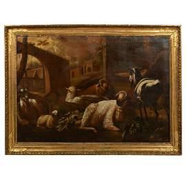 Oil on Canvas in Antique Italian Gilt Frame