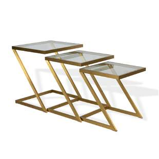 Brass and Glass Z Tables - 3