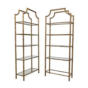 Faux Bamboo Gilt Bookshelves - Pair