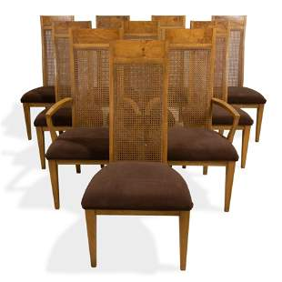 Burl and Cane Dining Chairs - 10