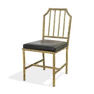 Faux Bamboo Italian Brass Side Chair