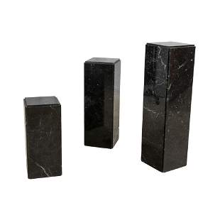 Black and White Marble Pedestal Tables - 3