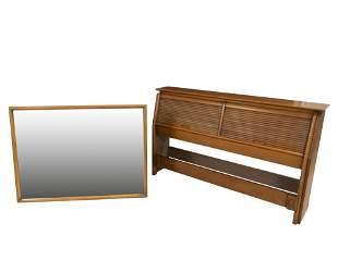 Drexel - Tambour Headboard and Mirror