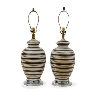 Pottery Lamps - Pair