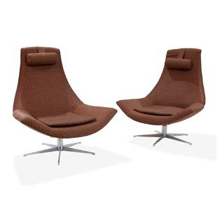 Italian Swivel Lounge Chairs - Pair