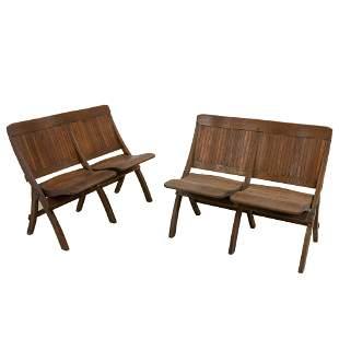 Oak Folding Deck Chairs - Pair