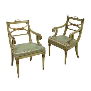 French Dining Arm Chairs - Pair