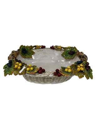 Large Majolica Floral Bowl
