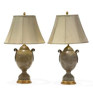 Faux Shagreen Urn Lamps - Pair