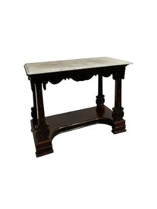 Gothic Marble Top Mahogany Hall Table