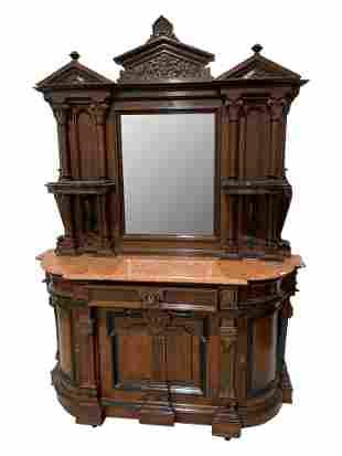 Renaissance Revival Marble Top Sideboard