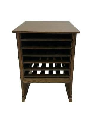 Oak Slant Top Map Cabinet