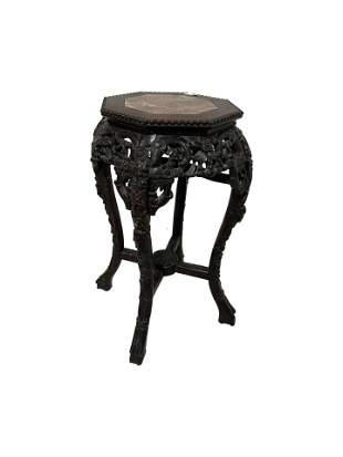 Carved Oriental Teak and Marble Stand