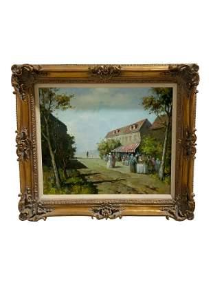 Oil on Canvas Village Scene