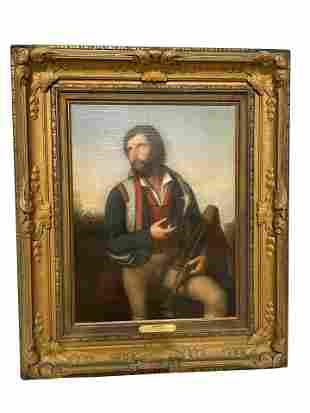 "Consalvo Carelli - ""Zampognaro"" Oil on Canvas"