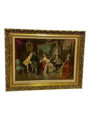 Oil on Canvas Victorian Parlor Scene