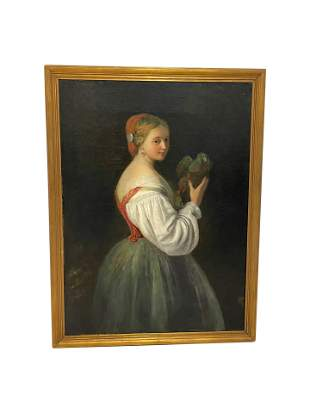 Antique Oil on Canvas Portrait of Woman with Bird