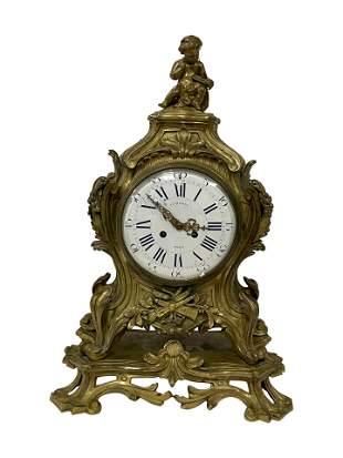 Figural French Bronze Clock