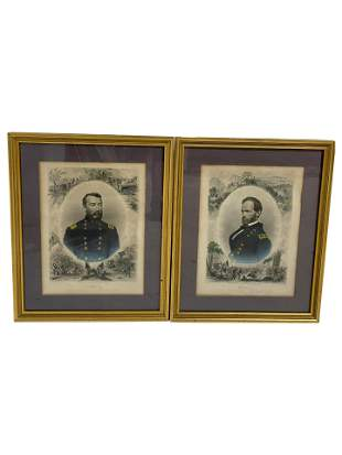 Civil War Engravings Sherman and Sheridan