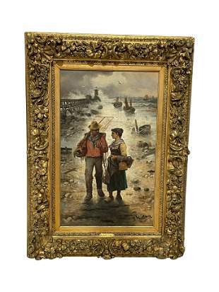 L Gartner - Oil on Canvas Fishing Couple