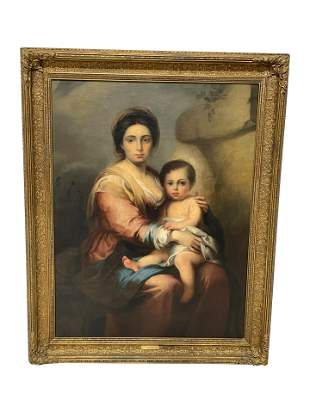 Antique Oil on Canvas Mother and Child