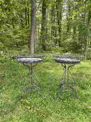 Victorian Iron Plant Stands - Pair