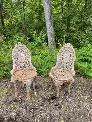 Victorian Cast Iron Garden Chairs - Pair