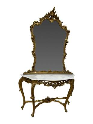 French Style Gold Leaf Console with Mirror