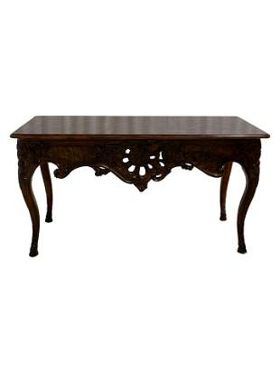 Oak and Mahogany Carved Console