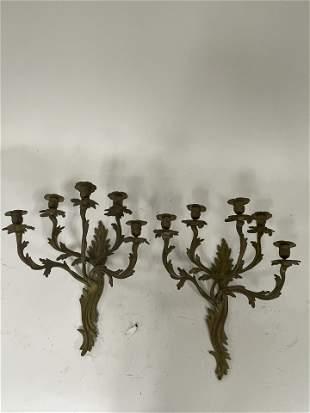 Rococo Bronze Candelabra Sconces