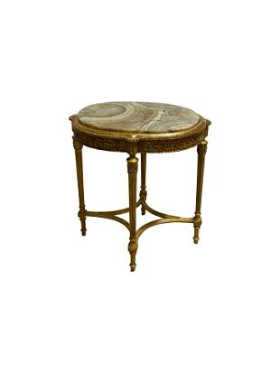 French Style Gold Leaf End Table