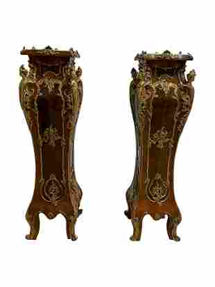 French Style Bronze Mounted High Pedestals