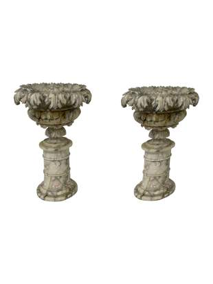 Alabaster 3 Part Urns - Pair