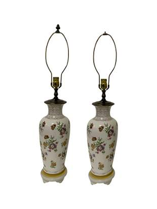 Painted Continental Lamps - Pair