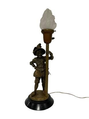 Figural Bronze Lamp