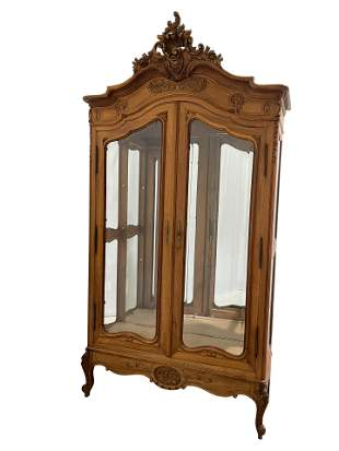 Carved French Walnut Armoire/Display Cabinet