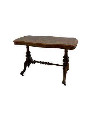 Victorian Burled Walnut Library Table