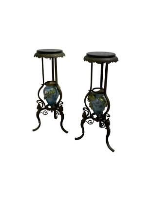 Victorian Figural Bronze Pedestals - Pair